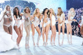 Models, from left, Lily Aldrige, Karlie Kloss, Adriana Lima, Candice Swanepoel, Bahati Prinsloo and Alessandra Ambrosio walk the runway during the finale of the 2013 Victoria's Secret Fashion Show at the 69th Regiment Armory on Wednesday, Nov. 13, 2013 in New York. (Photo by Evan Agostini/Invision/AP)