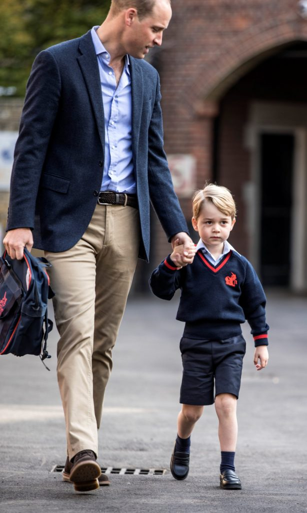 Britain's Prince William accompanies his son Prince George on his first day of school at Thomas's school in Battersea, London