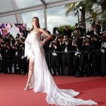 "Brazilian model Alessandra Ambrosio poses as she arrives for the screening of the film ""The Dead Don't Die"" during the 72nd edition of the Cannes Film Festival in Cannes, southern France, on May 14, 2019. (Photo by Valery HACHE / AFP)"